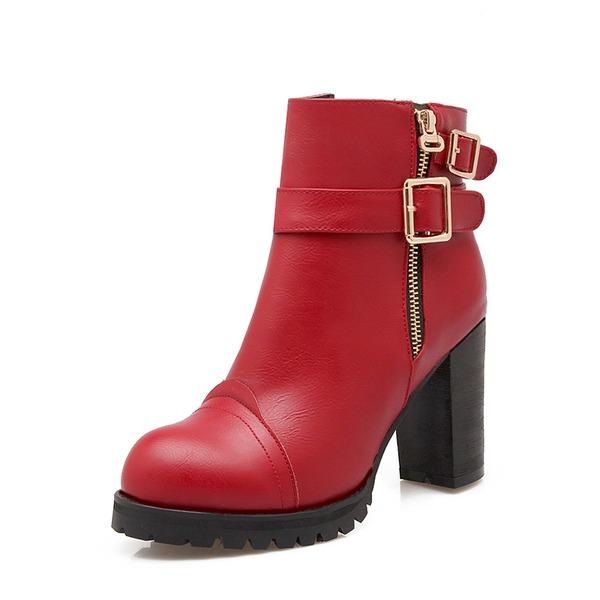 Women's Leatherette Chunky Heel Pumps Platform Boots Ankle Boots With Buckle Zipper shoes