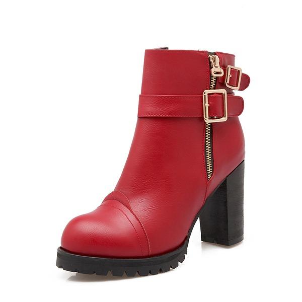 Femmes Similicuir Talon bottier Escarpins Plateforme Bottes Bottines avec Boucle Zip chaussures