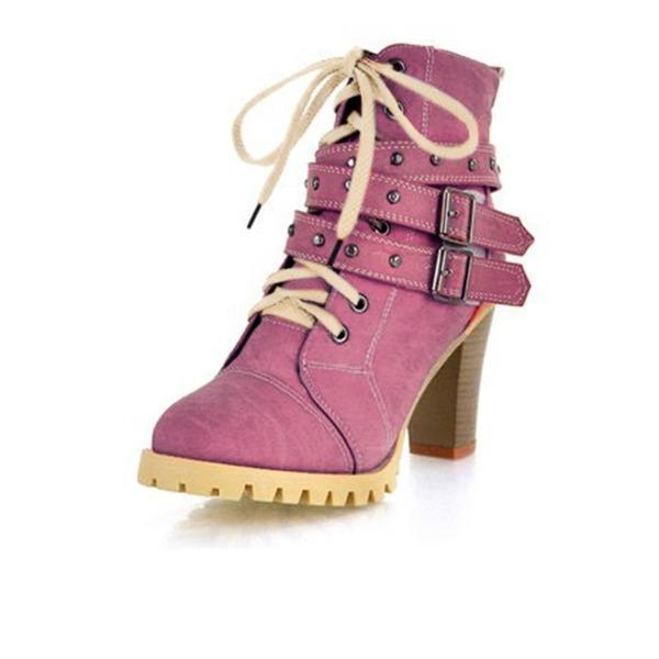 Frauen Kunstleder Stämmiger Absatz Absatzschuhe Plateauschuh Geschlossene Zehe Stiefel Stiefelette Schuhe