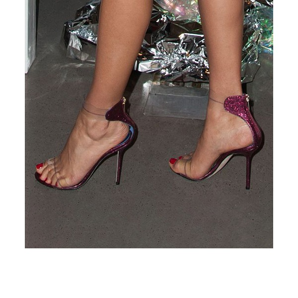 Kvinnor Glittrande Glitter PVC Stilettklack Sandaler Pumps Peep Toe med Zipper skor