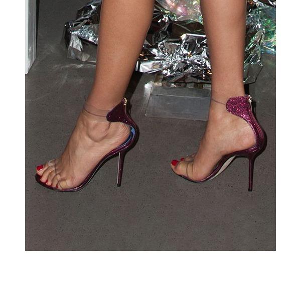 Frauen Funkelnde Glitzer PVC Stöckel Absatz Sandalen Absatzschuhe Peep Toe mit Reißverschluss Schuhe