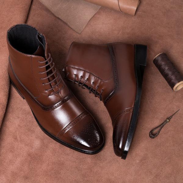 Мужская кожа шнуровка Chukka вскользь Men's Boots