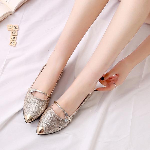 Kvinnor Glittrande Glitter Flat Heel Platta Skor / Fritidsskor Stängt Toe skor