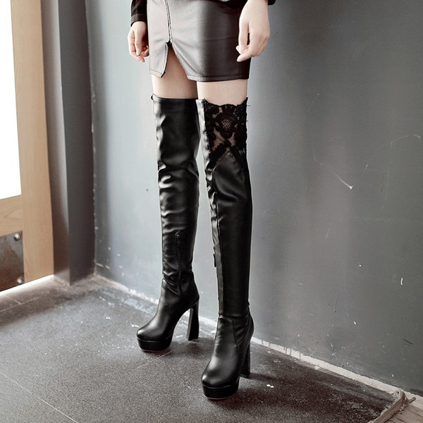 Women's PU Chunky Heel Pumps Platform Boots Over The Knee Boots With Stitching Lace shoes