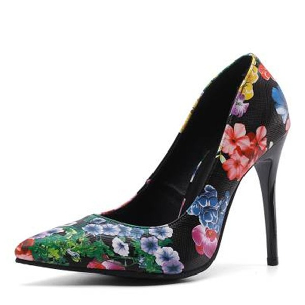 Women's Leatherette Stiletto Heel Pumps Closed Toe Mary Jane With Flower shoes