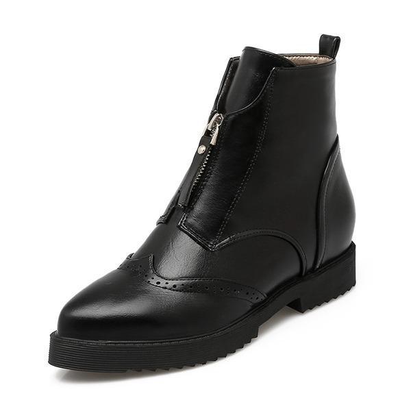 Kvinder PU Stor Hæl Lukket Tå Støvler Ankelstøvler med Lynlås sko