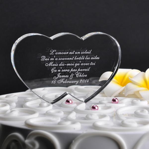 Individualisiert Doppelte Herzen Kristall Torten-Dekoration