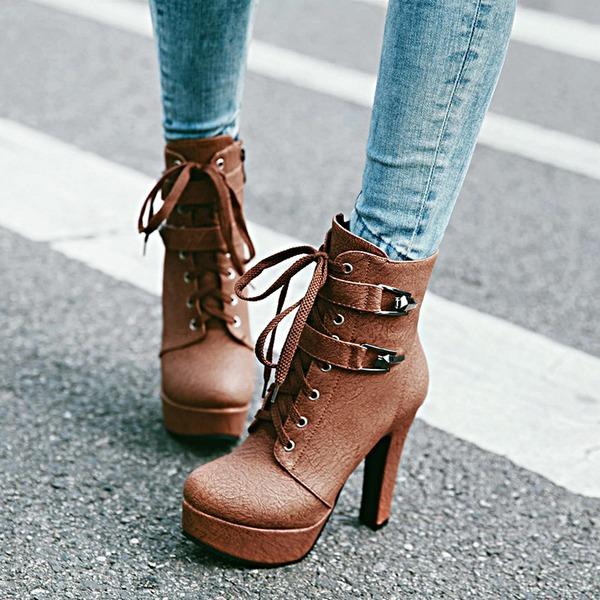 Kvinnor PU Stilettklack Pumps Plattform Stövlar med Spänne Zipper Bandage skor