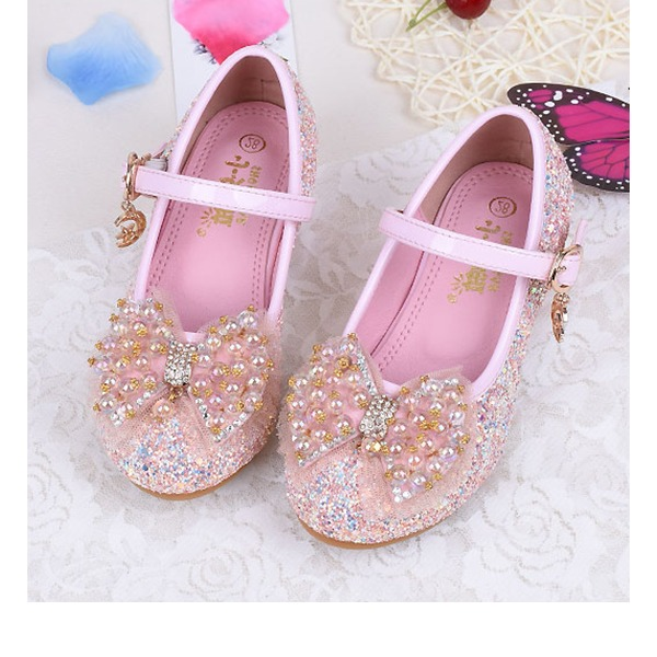 Mädchens Round Toe Geschlossene Zehe funkelnden Glitter niedrige Ferse Blumenmädchen Schuhe mit Bowknot
