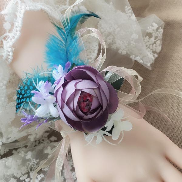 Redondo Satén Conjuntos de flores ( conjunto de2) - Ramillete de muñeca/Boutonniere