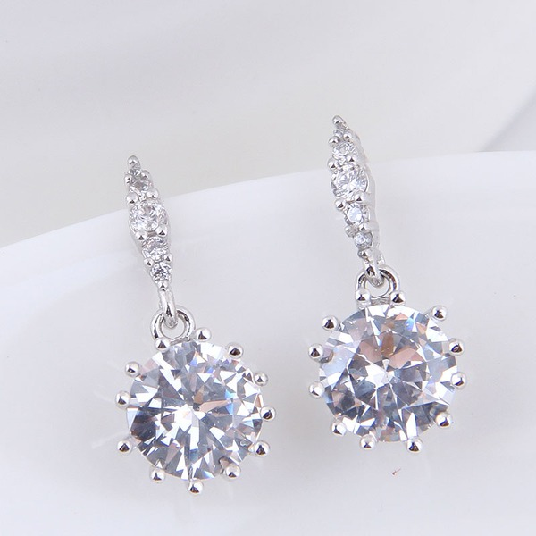 Stylish Zircon Copper With Zircon Women's Fashion Earrings (Sold in a single piece)