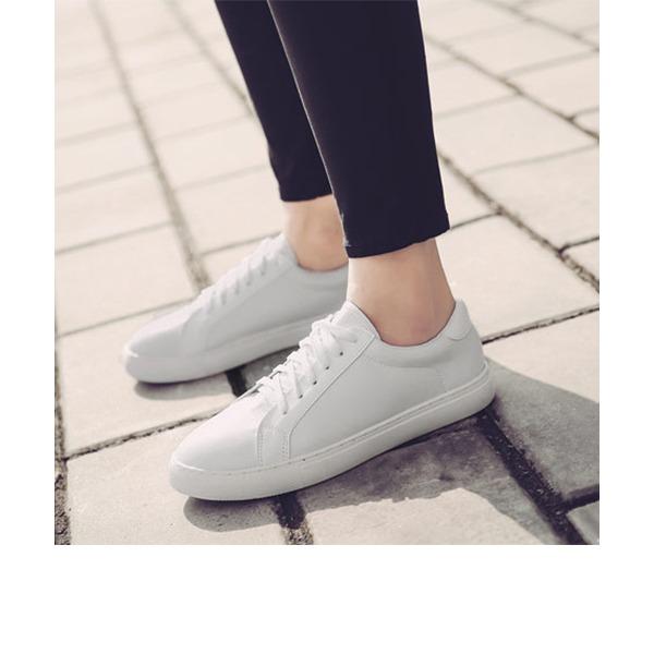 Kadın PU Düz Topuk Daireler Kapalı Toe Ile Bağcıklı ayakkabı