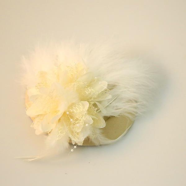 Dames Beau Feather/Fil net/Fleur en soie/Velours Chapeaux de type fascinator