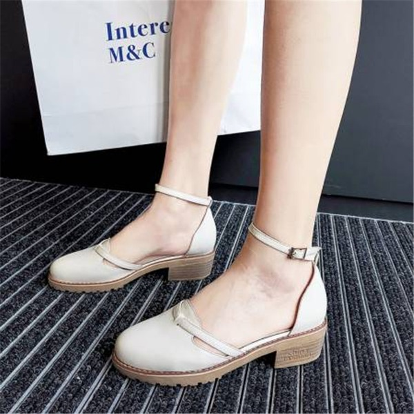 Women's PU Chunky Heel Sandals Closed Toe أحذية