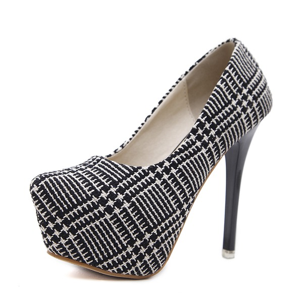 Women's Cloth Stiletto Heel Pumps Platform Closed Toe With Others shoes