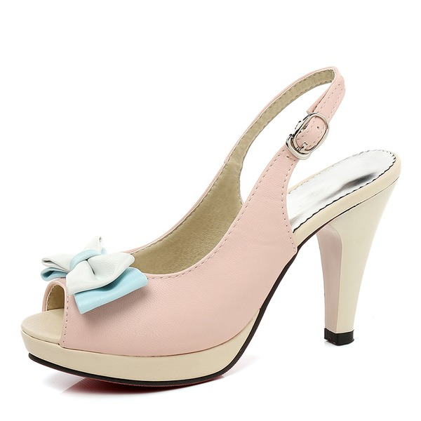 Women's PU Stiletto Heel Sandals Pumps Platform Peep Toe Slingbacks With Bowknot shoes