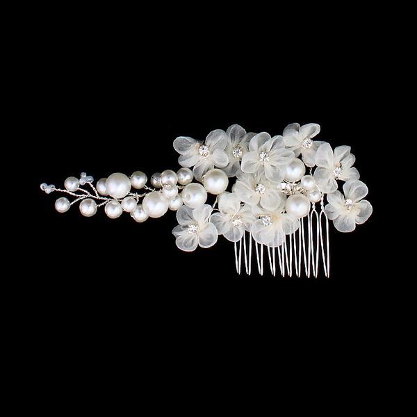 Elegante Falso pérola/Flor de seda Pentes & presilhas (Vendido em uma única peça)