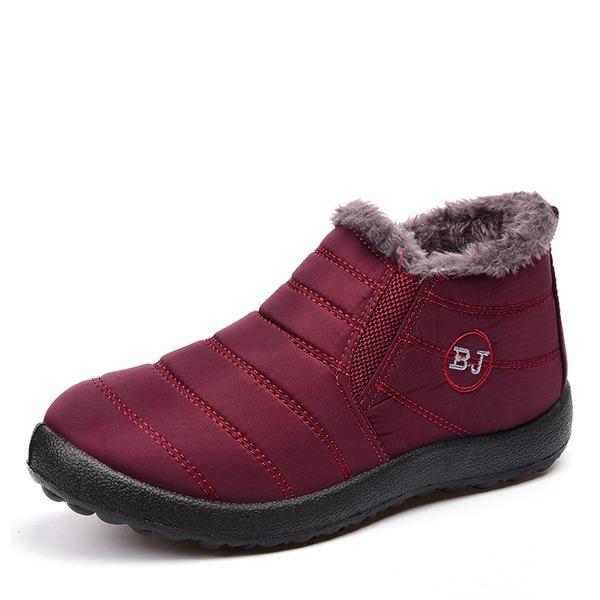 Femmes Tissu Talon plat Bout fermé Bottes neige avec Fourrure chaussures