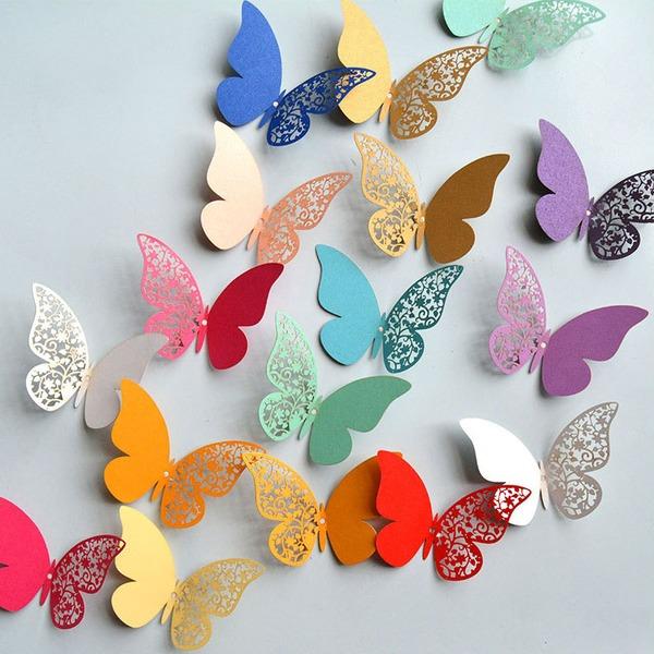 Perhonen suunnittelu värikäs Helmi Kirjassa Sisustustarvikkeet (sarja 12 packs)