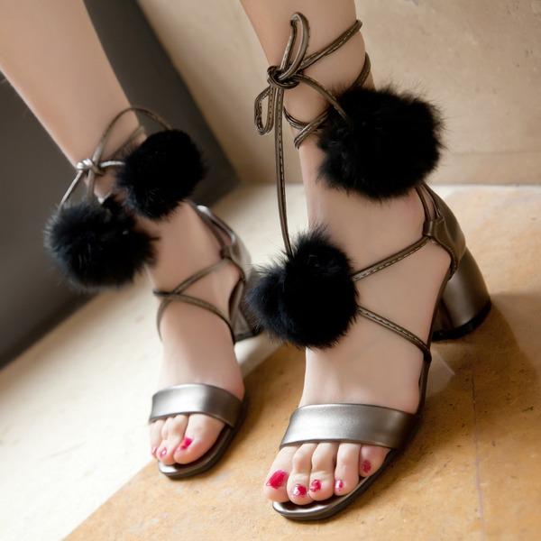 Kadın Suni deri Kalın Topuk Sandalet Pompalar Peep Toe Ile Bağcıklı ayakkabı
