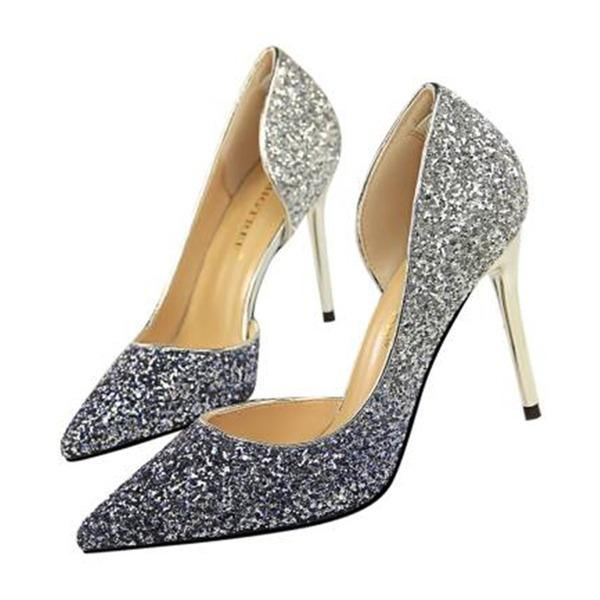 Mulheres Espumante Glitter Salto agulha Sandálias Bombas Fechados com Lantejoulas sapatos