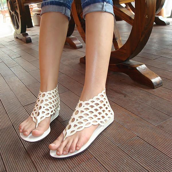 Frauen Kunstleder Flascher Absatz Sandalen mit Reißverschluss Hohl-out Schuhe