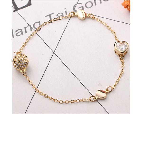 Heart Shaped Alloy Crystal Zircon With Zircon Fashion Bracelets (Sold in a single piece)