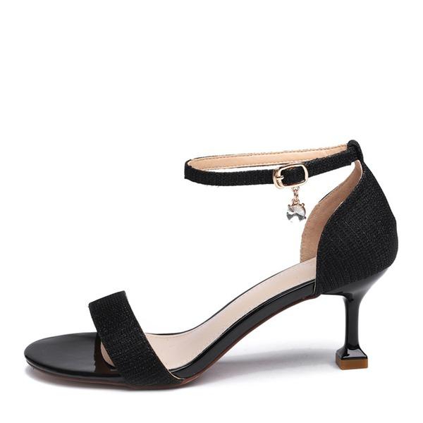 Frauen Funkelnde Glitzer Niederiger Absatz Peep-Toe Sandalen