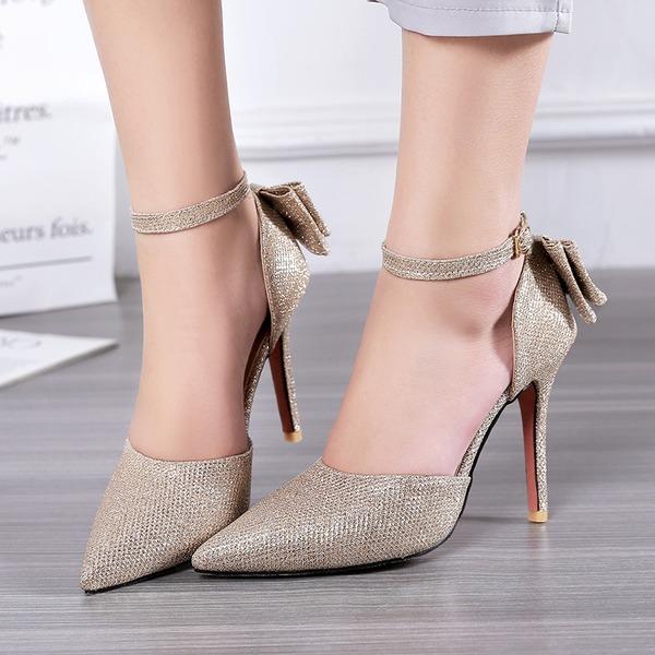 Kvinner Lær Stiletto Hæl Sandaler med Bowknot Glitrende Glitter Spenne sko