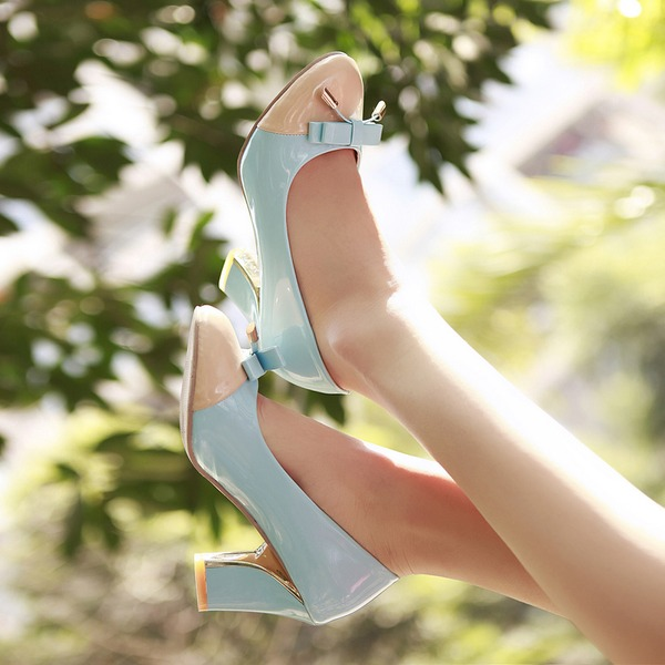 Dla kobiet Skóra ekologiczna Obcas Slupek Czólenka Zakryte Palce Z Kokarda obuwie
