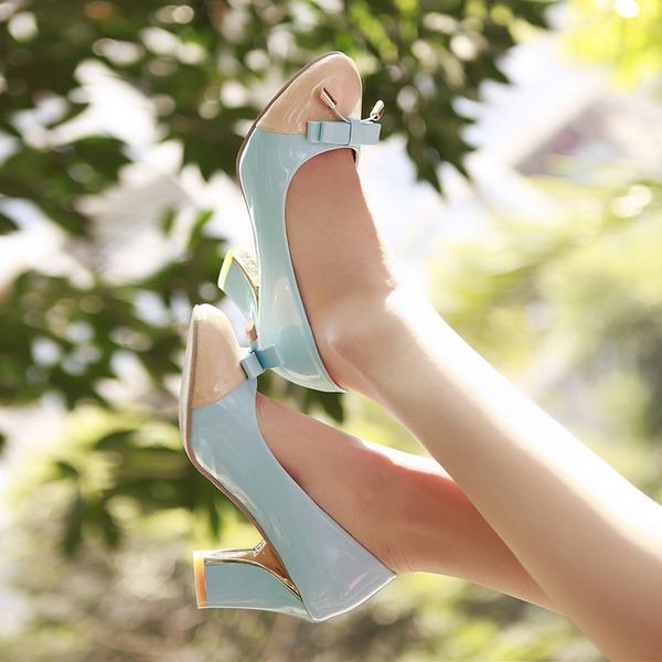 Mulheres Couro Salto robusto Bombas Fechados com Bowknot sapatos