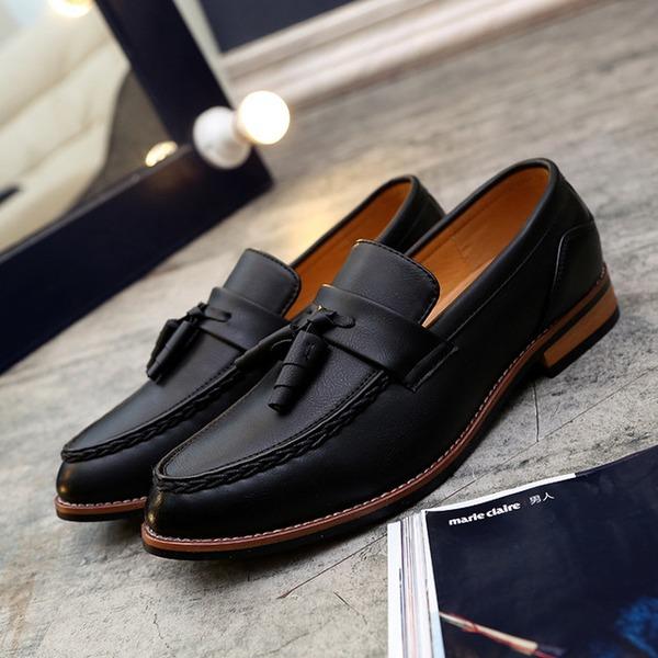 Hombres Cuero Borla Mocasines Casual Zapatos de vestir Mocasines de caballero