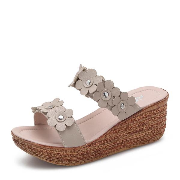 Frauen Microfaser-Leder Keil Absatz Sandalen Keile Peep Toe mit Blume Schuhe