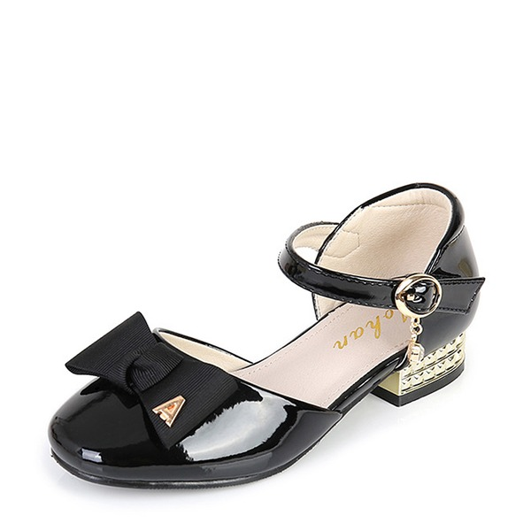 Girl's Round Toe Closed Toe Leatherette Low Heel Flower Girl Shoes With Bowknot Buckle Velcro