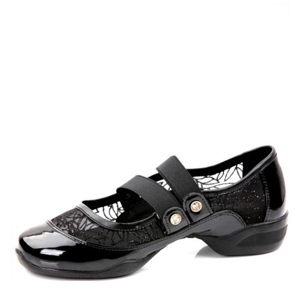 Women's Patent Leather Mesh Heels Sneakers Practice Dance Shoes
