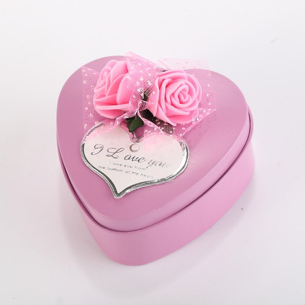 Sweet Love/Classic Heart-shaped Favor Tin With Flowers (Set of 12)