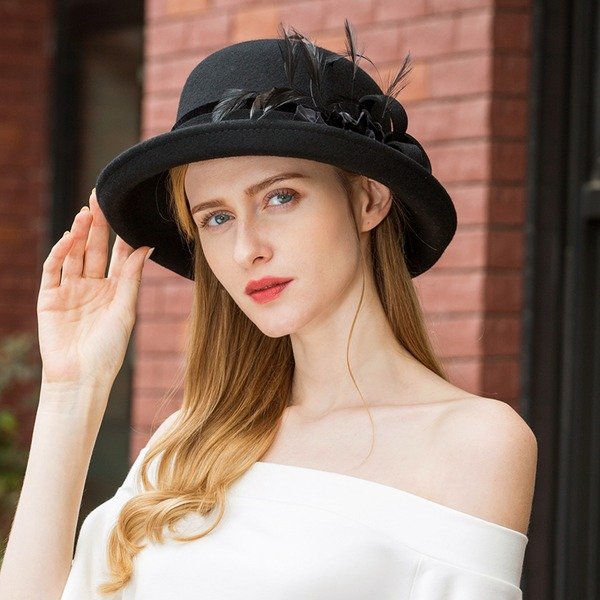 Ladies' Unique/Simple/High Quality Wool With Feather Floppy Hat