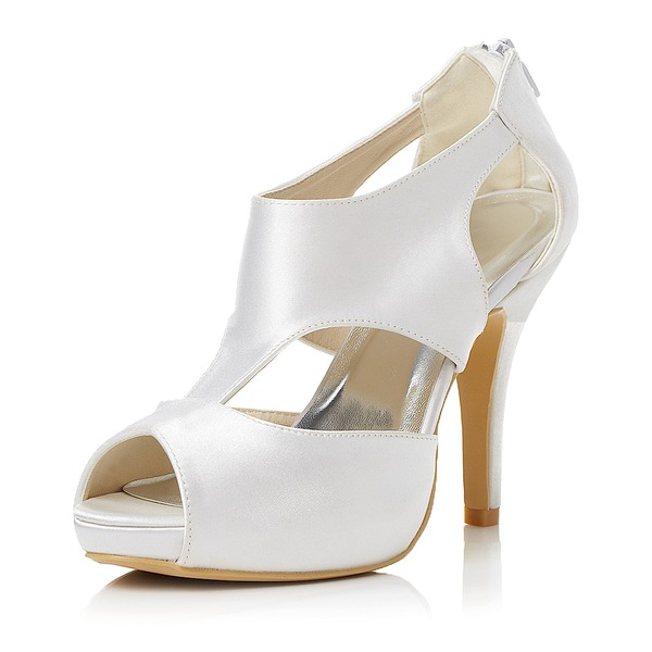 Frauen Satin Stöckel Absatz Peep Toe Sandalen mit Reißverschluss