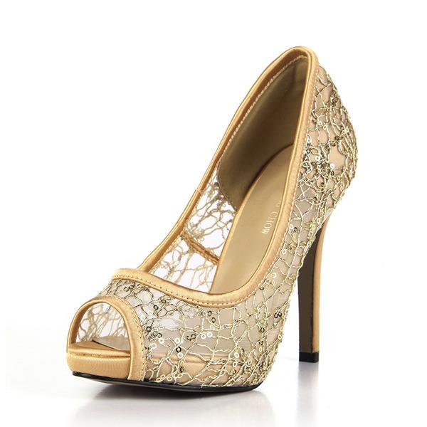 Kvinnor Plast Gummi Stilettklack Pumps Peep Toe skor