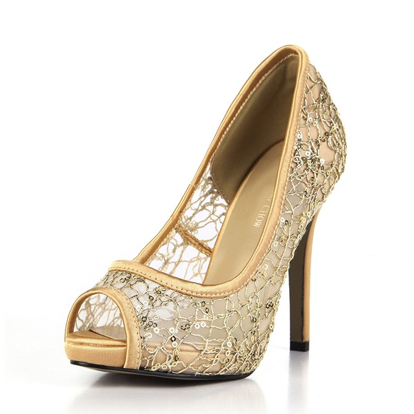 Frauen Kunststoffe Gummi Stöckel Absatz Absatzschuhe Peep Toe Schuhe