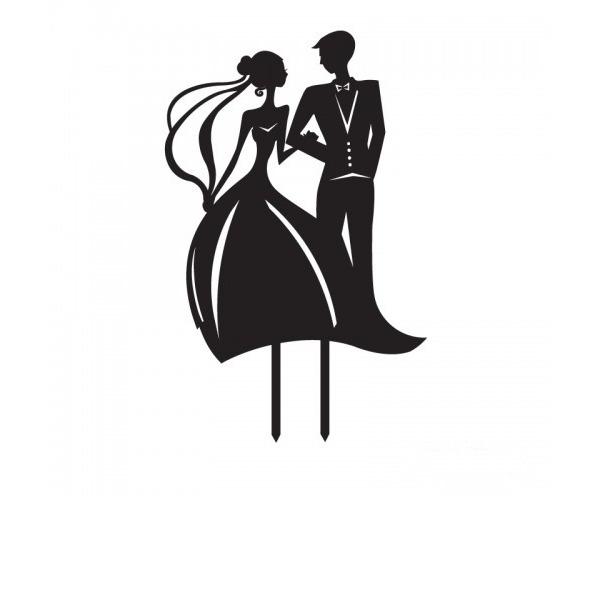 Estatueta Noiva e Noivo Acrílico Casamento Decorações de bolos/Chá de panela Decorações de bolos