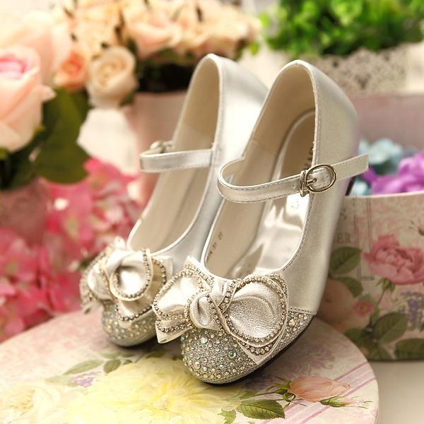 Fille de Bout fermé similicuir talon plat Chaussures de fille de fleur avec Bowknot Boucle