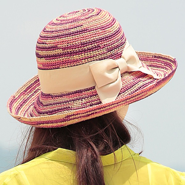 Ladies' Fashion/Exquisite Raffia Straw With Bowknot Straw Hat/Beach/Sun Hats