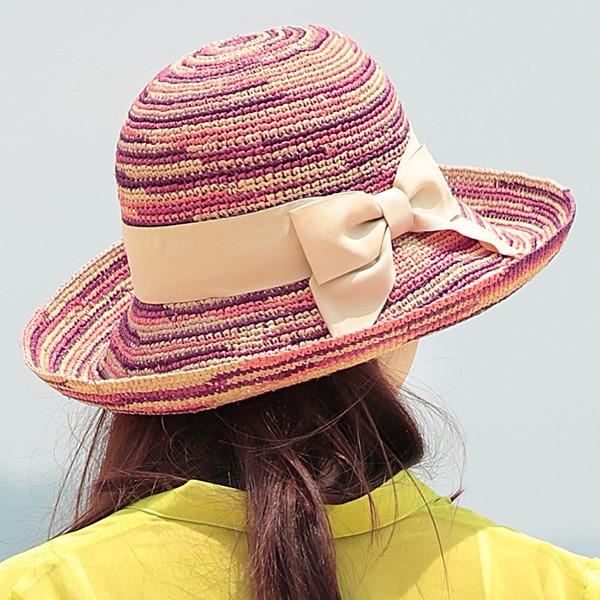 Sonar Naisten Muoti/Hieno Punoitetut paalinpurkain jossa Bowknot Olkihattu/Beach / Sun hatut