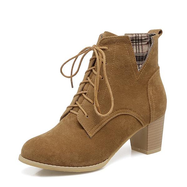 Femmes Suède Talon bottier Escarpins Bottes Bottines avec Dentelle chaussures