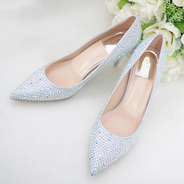 Women's Silk Like Satin Stiletto Heel Closed Toe With Crystal