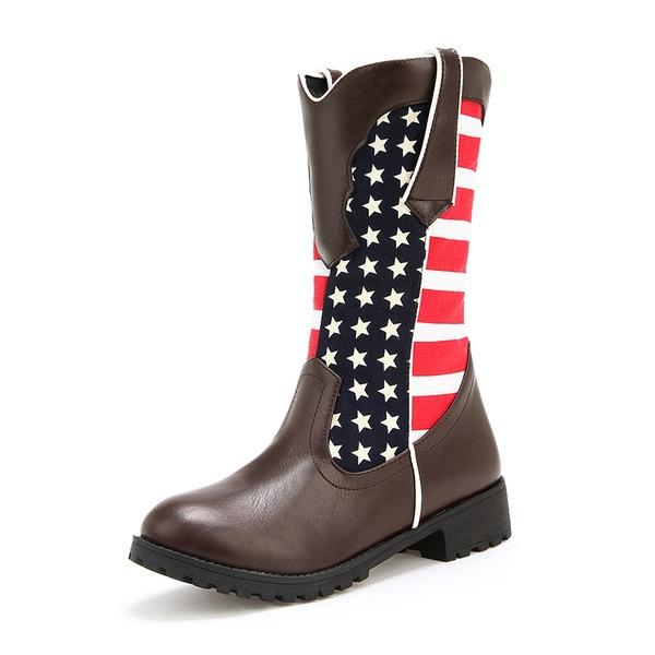 De mujer Cuero Tacón ancho Botas Botas longitud media con Hebilla zapatos