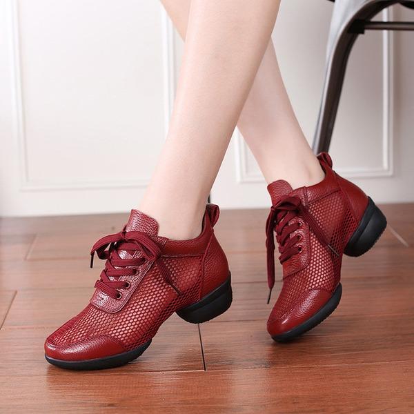 Vrouwen Kunstleer Mesh Dans Sneakers modern Dans Sneakers Oefening Dansschoenen