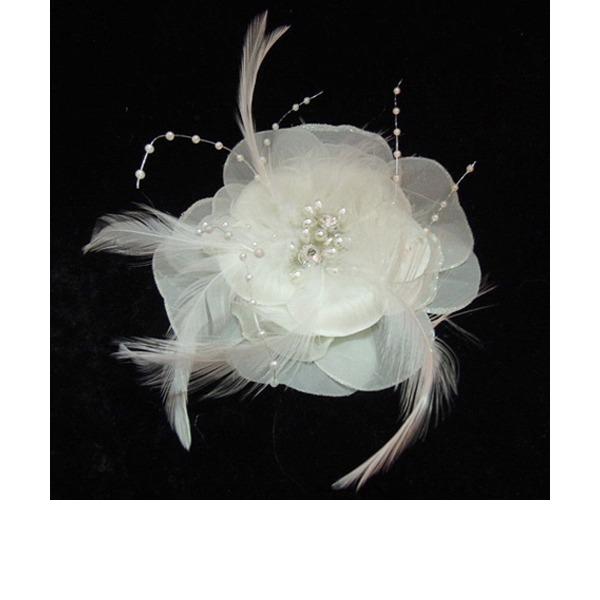 Affascinante Di faux perla/Piuma/Chiffona Fiori & piume con Perla