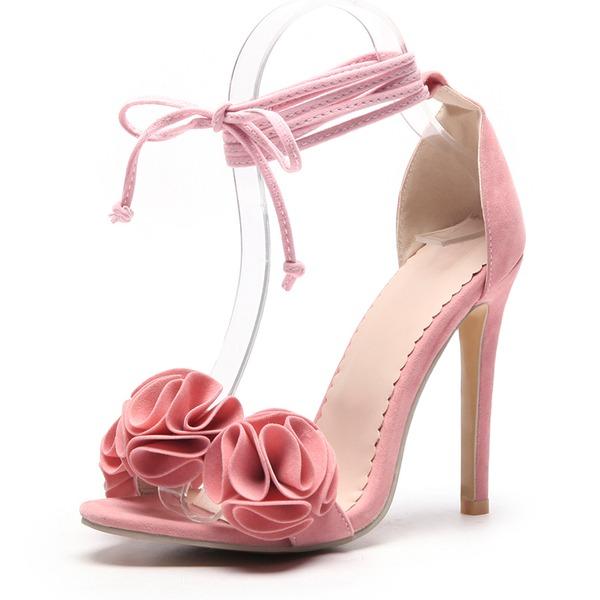 Mulheres Camurça Salto agulha Sandálias Bombas com Flor sapatos
